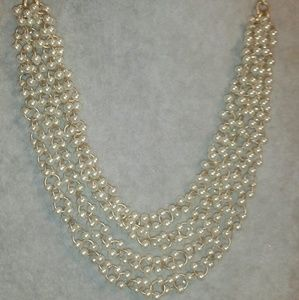 '1937' Gold & Pearl Seed Bead Waterfall Necklace